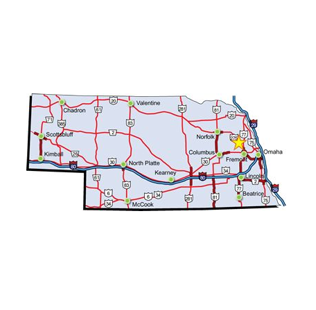 state map showing location of Scribner